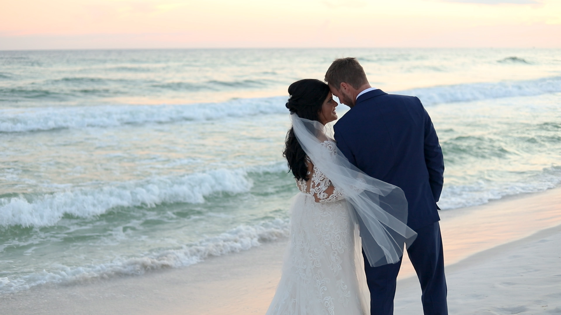 bride and groom portrait on Destin beach