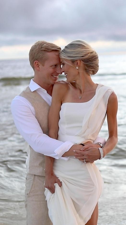 bride and groom wedding video portraits on Rosemary Beach, Florida
