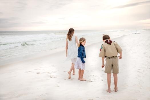 military kids walking on the beach in Fort Walton Beach, Florida