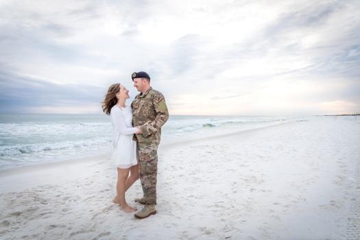 military couple photos on the beach