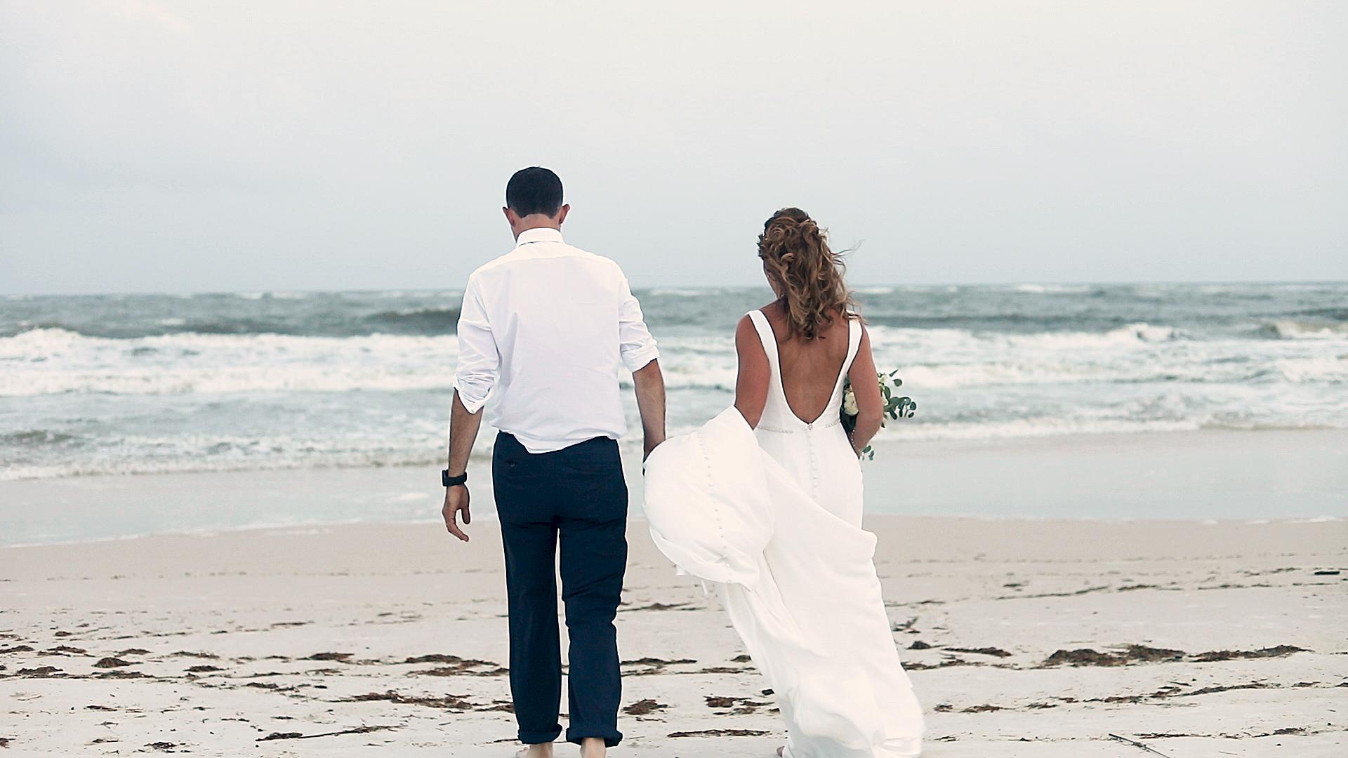 Bride and groom on Perdido Beach