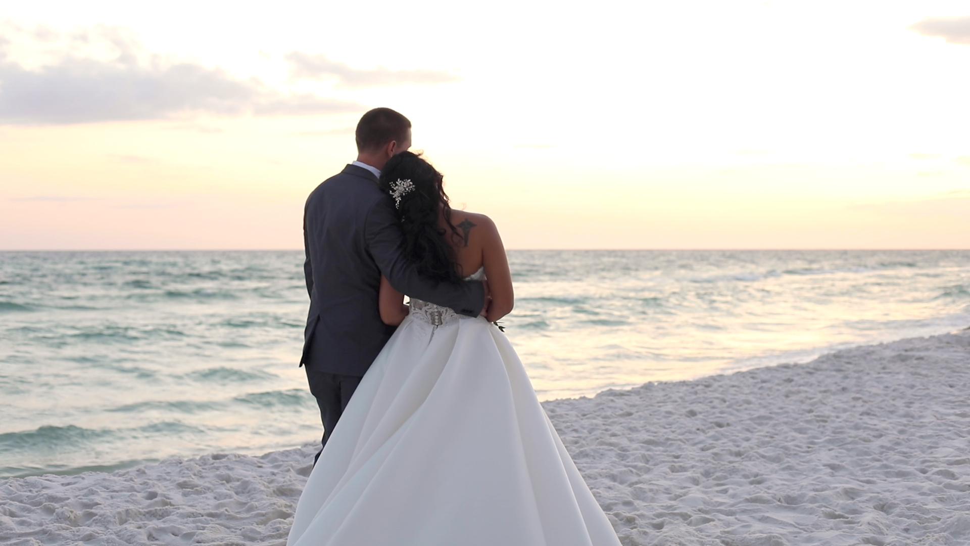 beach wedding portrait at sunset in Fort Walton Beach, Florida